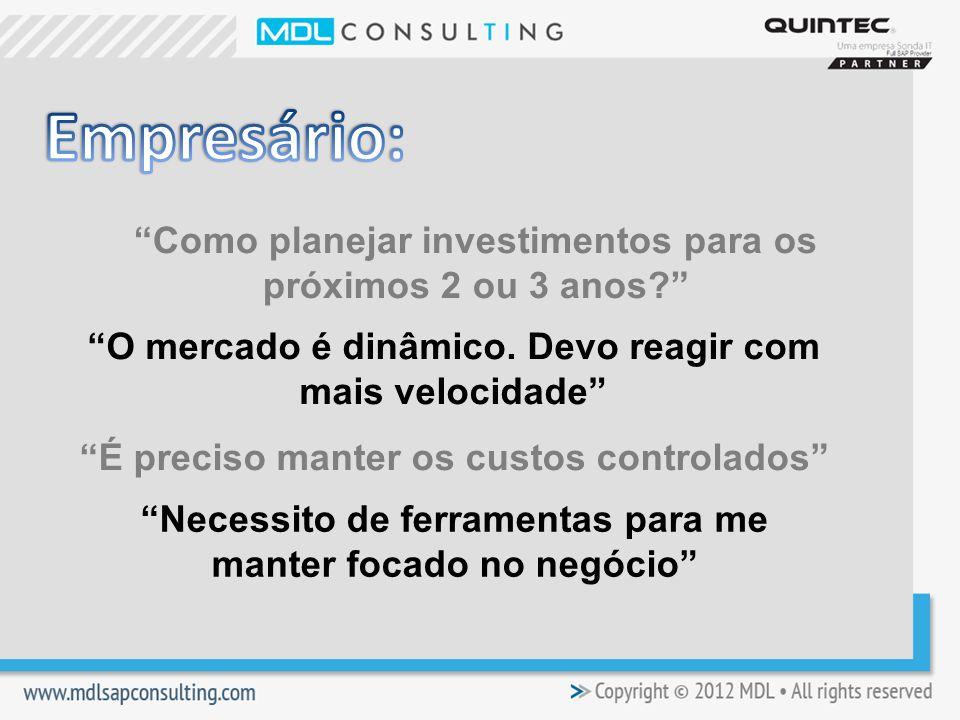 Empresário: Como planejar investimentos para os próximos 2 ou 3 anos O mercado é dinâmico. Devo reagir com mais velocidade