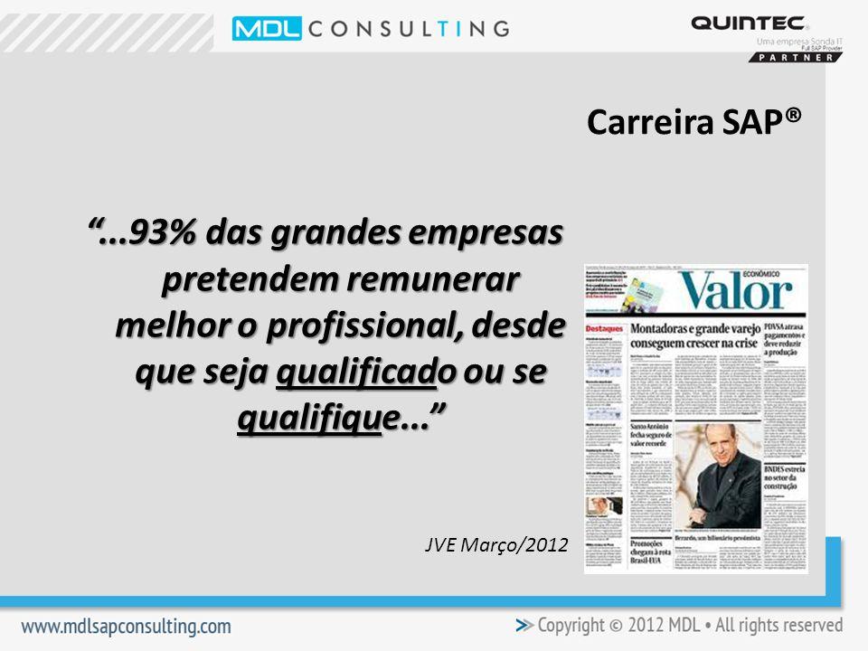 Carreira SAP® ...93% das grandes empresas pretendem remunerar melhor o profissional, desde que seja qualificado ou se qualifique...