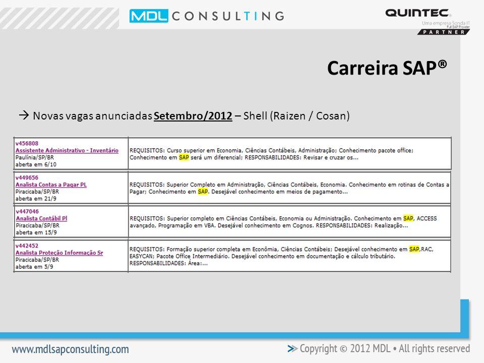 Carreira SAP®  Novas vagas anunciadas Setembro/2012 – Shell (Raizen / Cosan)