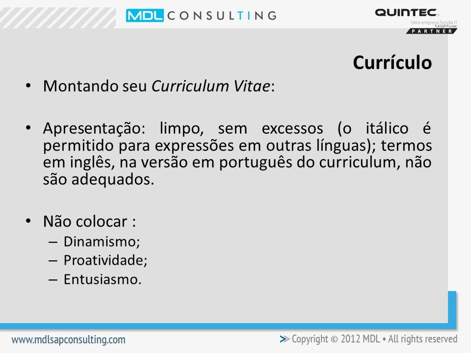 Currículo Montando seu Curriculum Vitae: