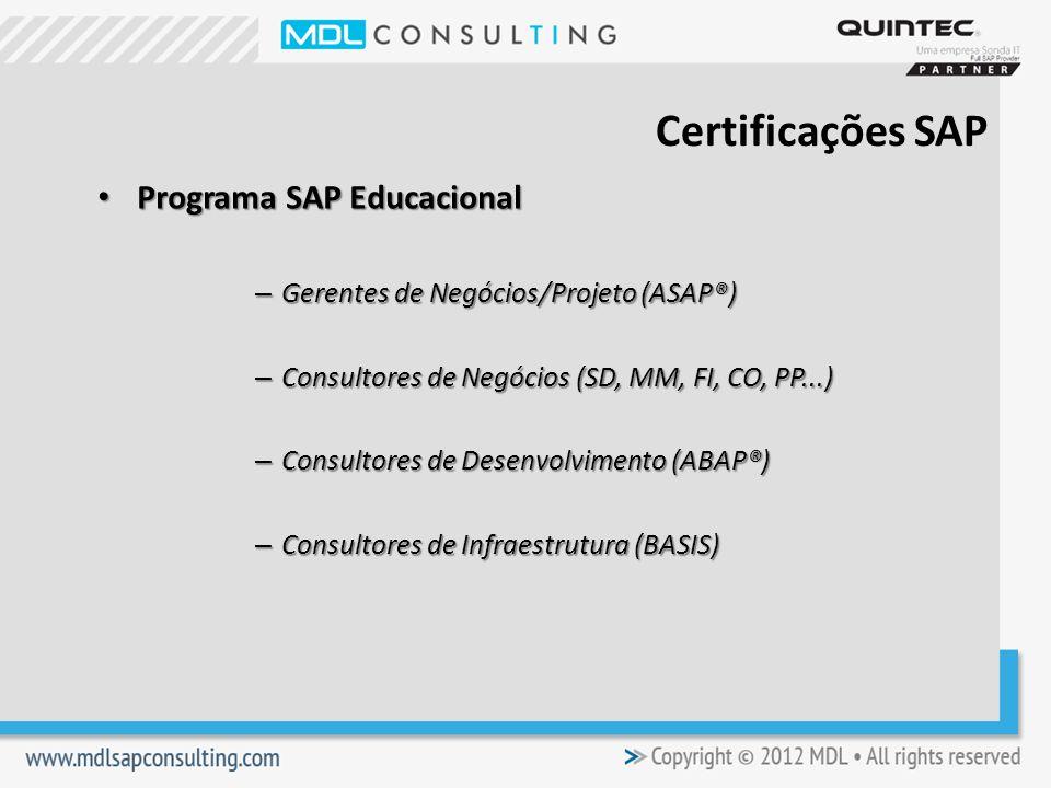 Certificações SAP Programa SAP Educacional