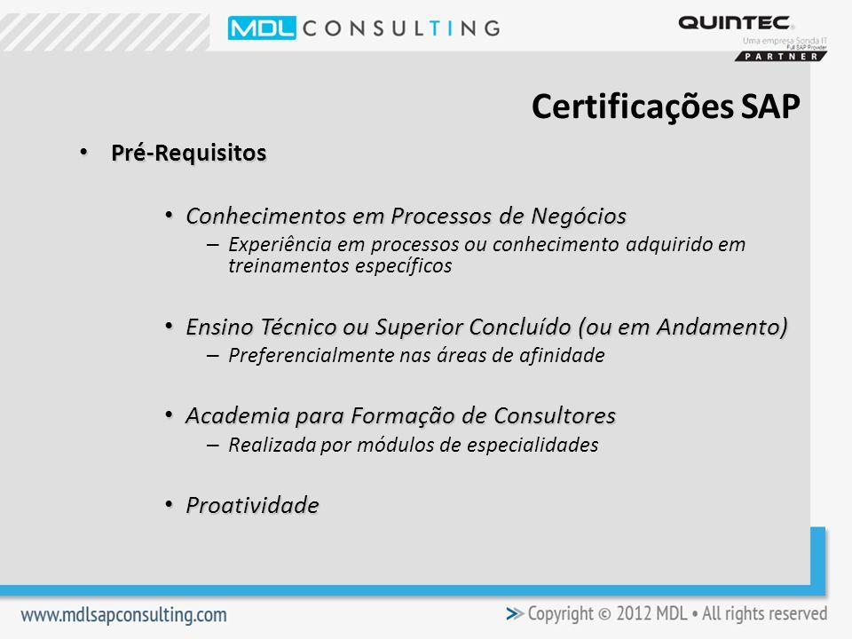 Certificações SAP Pré-Requisitos