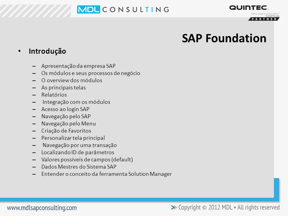 SAP Foundation Introdução Apresentação da empresa SAP