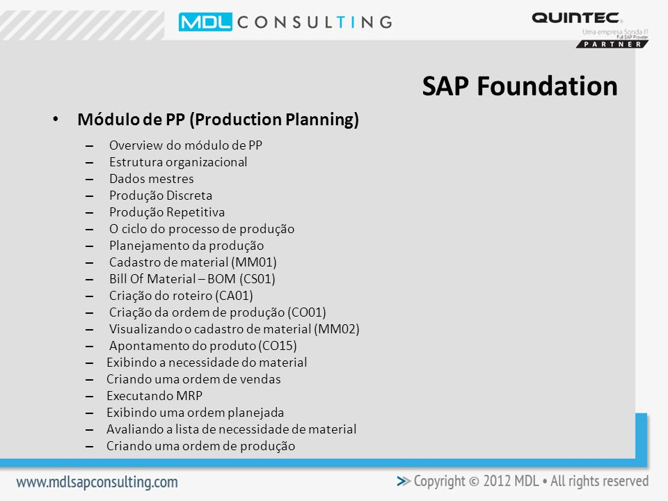 SAP Foundation Módulo de PP (Production Planning)