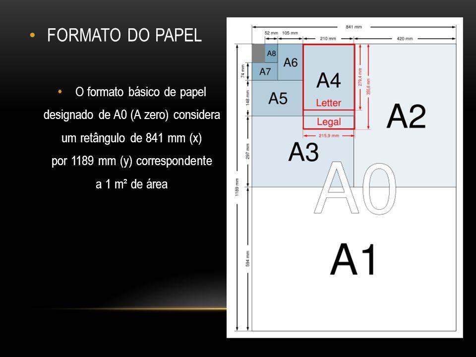 FORMATO DO PAPEL O formato básico de papel
