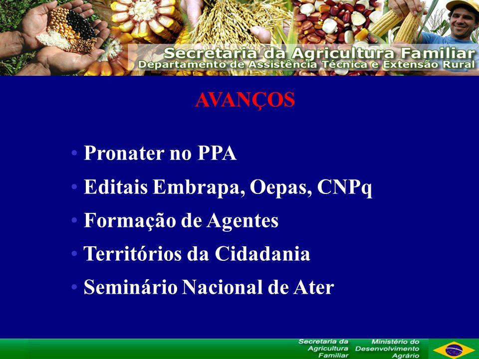 AVANÇOS Pronater no PPA. Editais Embrapa, Oepas, CNPq. Formação de Agentes. Territórios da Cidadania.