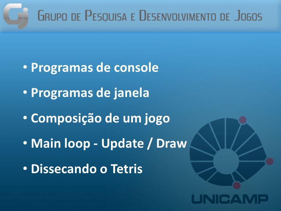 Programas de console Programas de janela. Composição de um jogo.