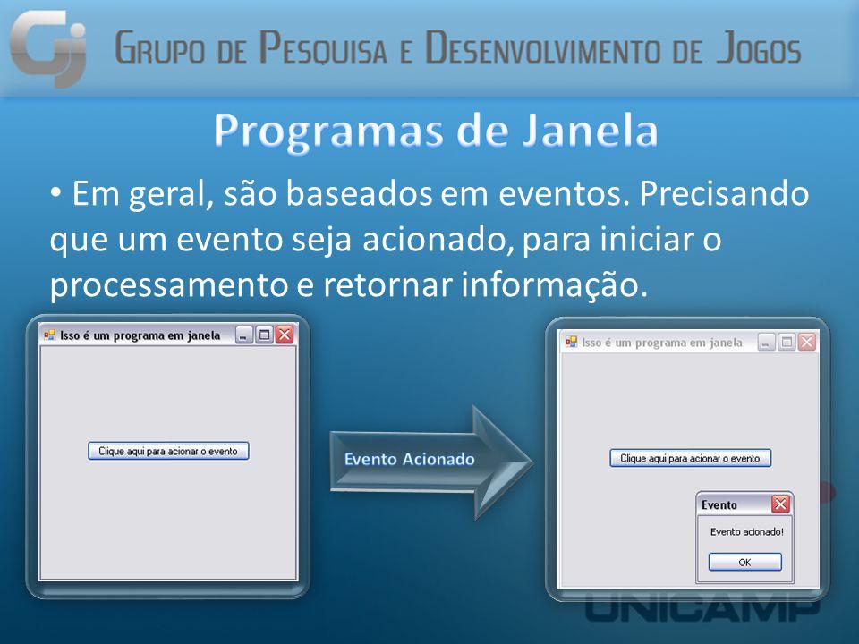 Programas de Janela Em geral, são baseados em eventos. Precisando que um evento seja acionado, para iniciar o processamento e retornar informação.