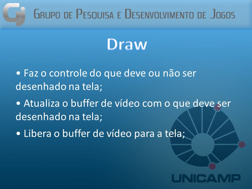 Draw Faz o controle do que deve ou não ser desenhado na tela;