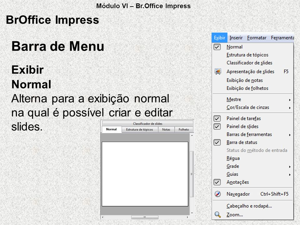Barra de Menu BrOffice Impress Exibir Normal