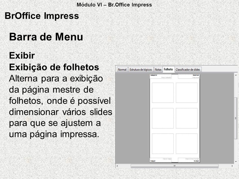 Barra de Menu BrOffice Impress Exibir Exibição de folhetos