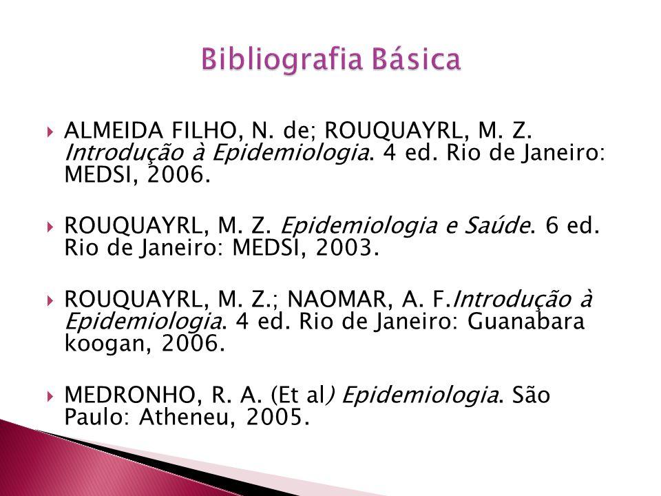 Bibliografia Básica ALMEIDA FILHO, N. de; ROUQUAYRL, M. Z. Introdução à Epidemiologia. 4 ed. Rio de Janeiro: MEDSI, 2006.