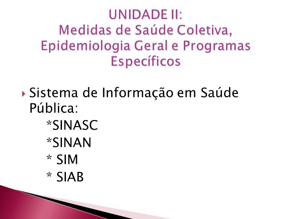 UNIDADE II: Medidas de Saúde Coletiva, Epidemiologia Geral e Programas Específicos