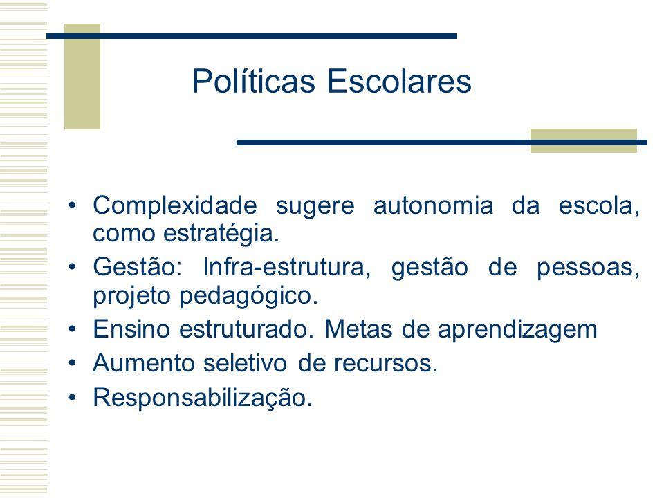 Políticas Escolares Complexidade sugere autonomia da escola, como estratégia. Gestão: Infra-estrutura, gestão de pessoas, projeto pedagógico.