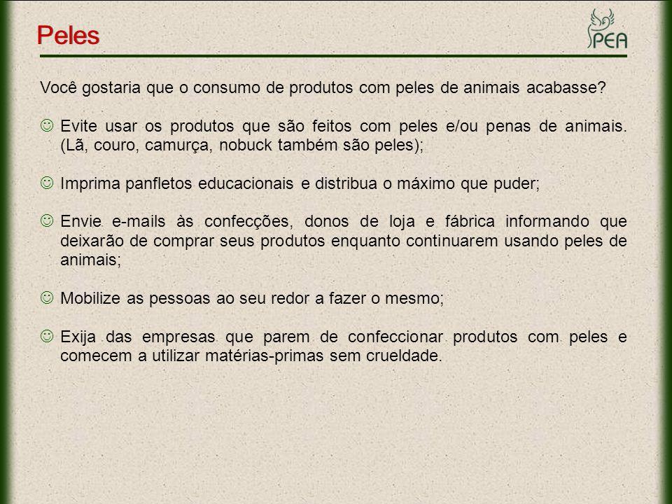 Peles Você gostaria que o consumo de produtos com peles de animais acabasse