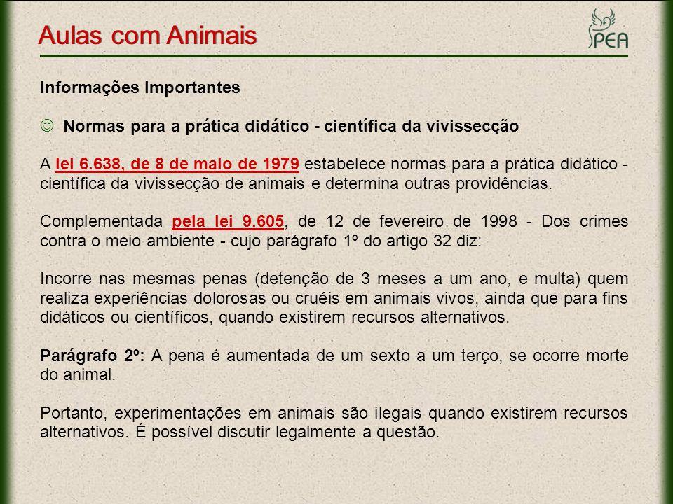 Aulas com Animais Informações Importantes