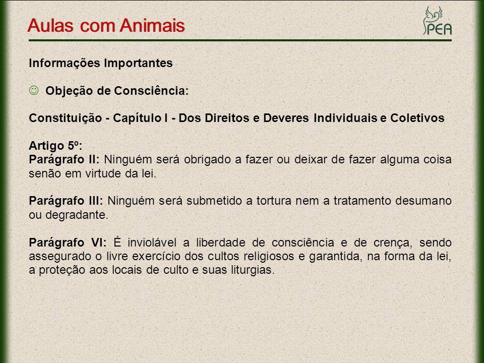 Aulas com Animais Informações Importantes Objeção de Consciência: