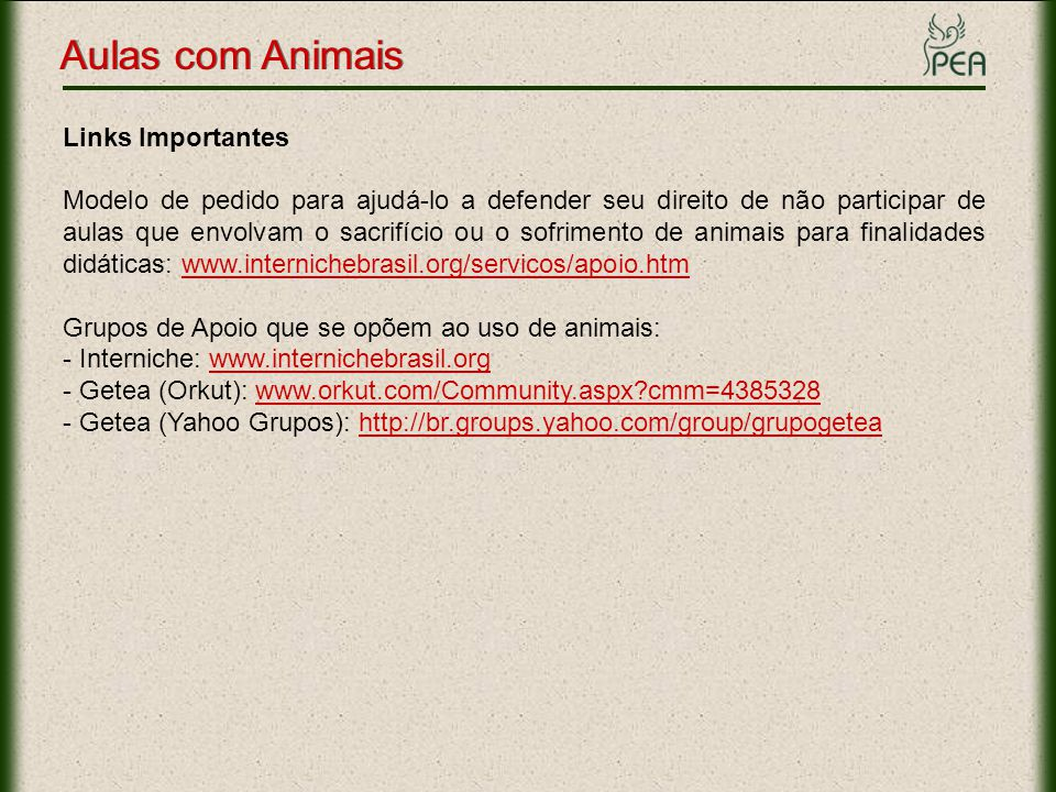 Aulas com Animais Links Importantes