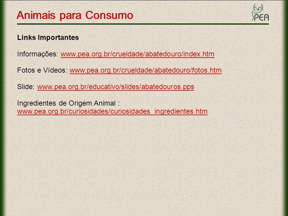 Animais para Consumo Links Importantes