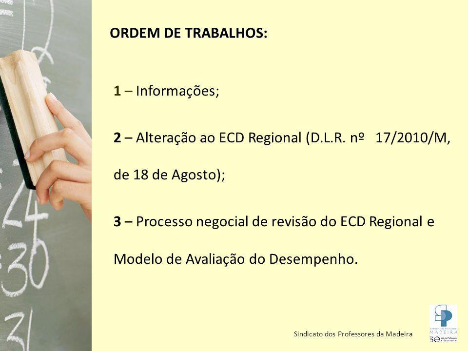2 – Alteração ao ECD Regional (D.L.R. nº 17/2010/M, de 18 de Agosto);