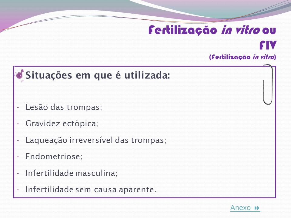 Fertilização in vitro ou FIV (Fertilização in vitro)