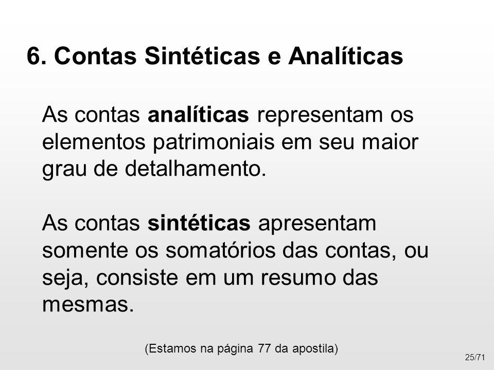 6. Contas Sintéticas e Analíticas