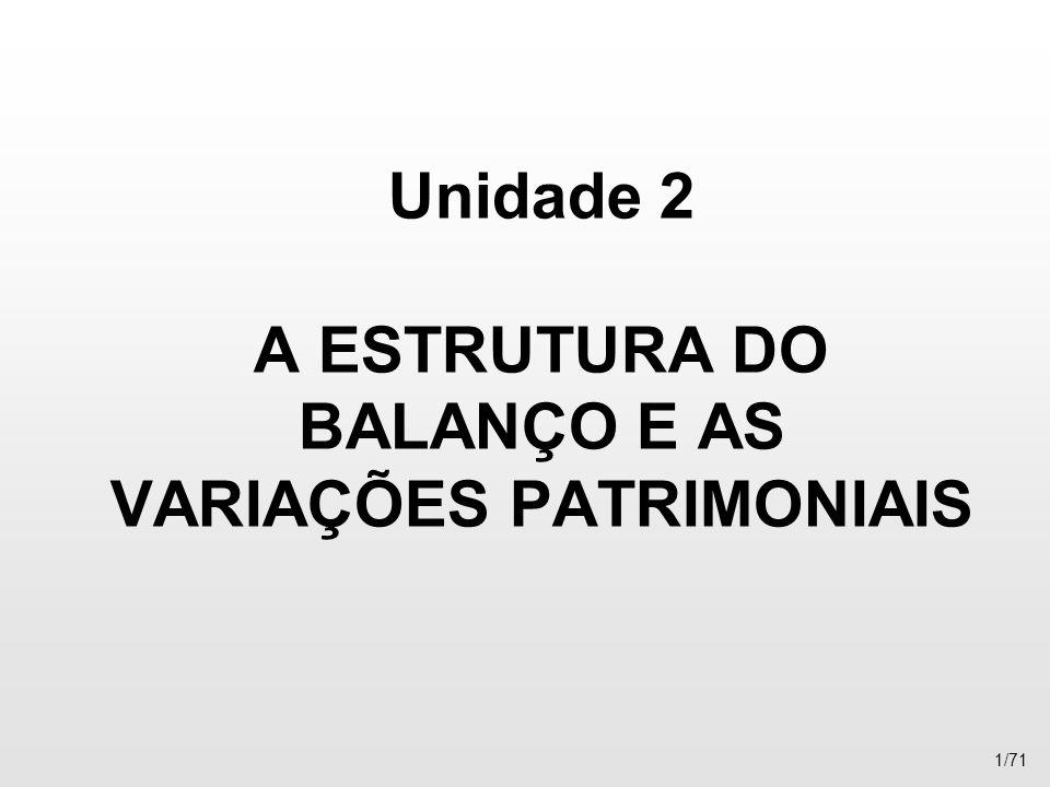 Unidade 2 A ESTRUTURA DO BALANÇO E AS VARIAÇÕES PATRIMONIAIS