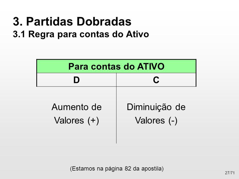 3. Partidas Dobradas 3.1 Regra para contas do Ativo