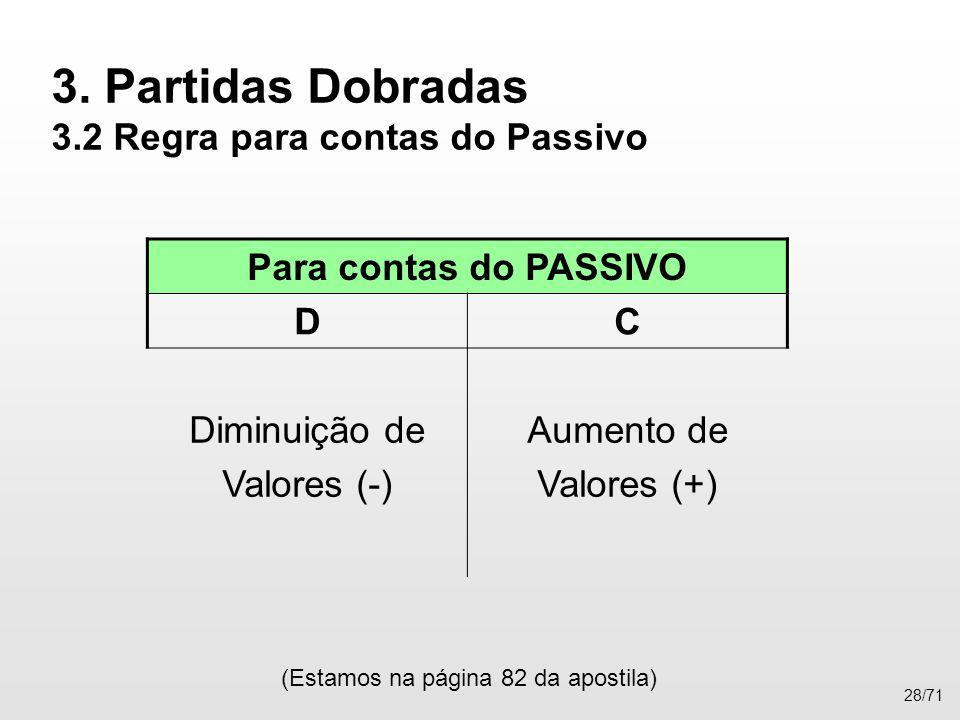 3. Partidas Dobradas 3.2 Regra para contas do Passivo