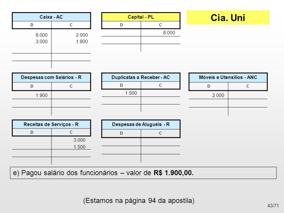 Cia. Uni e) Pagou salário dos funcionários – valor de R$ 1.900,00.