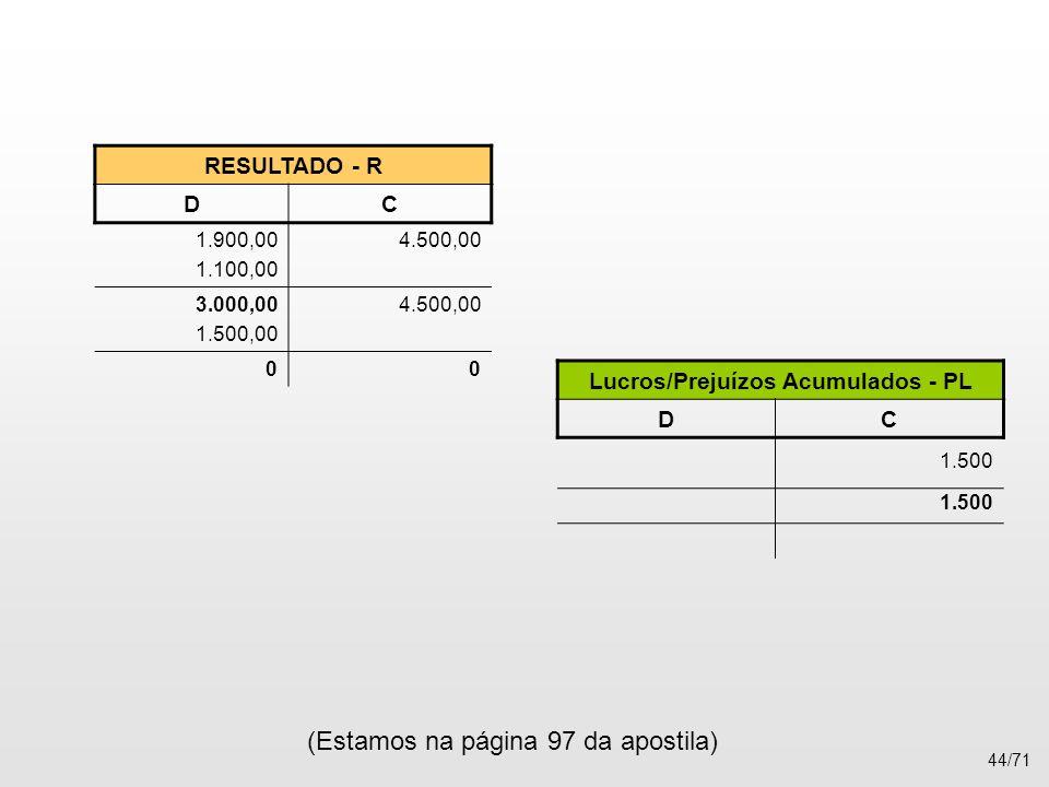Lucros/Prejuízos Acumulados - PL
