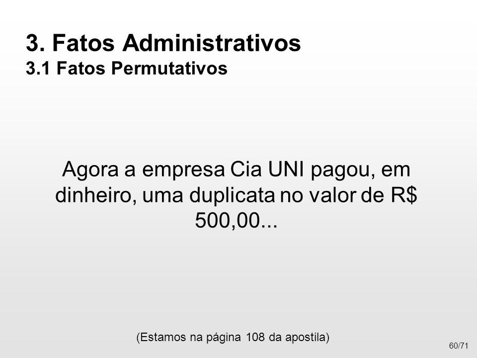 3. Fatos Administrativos 3.1 Fatos Permutativos