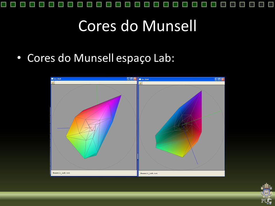 Cores do Munsell Cores do Munsell espaço Lab:
