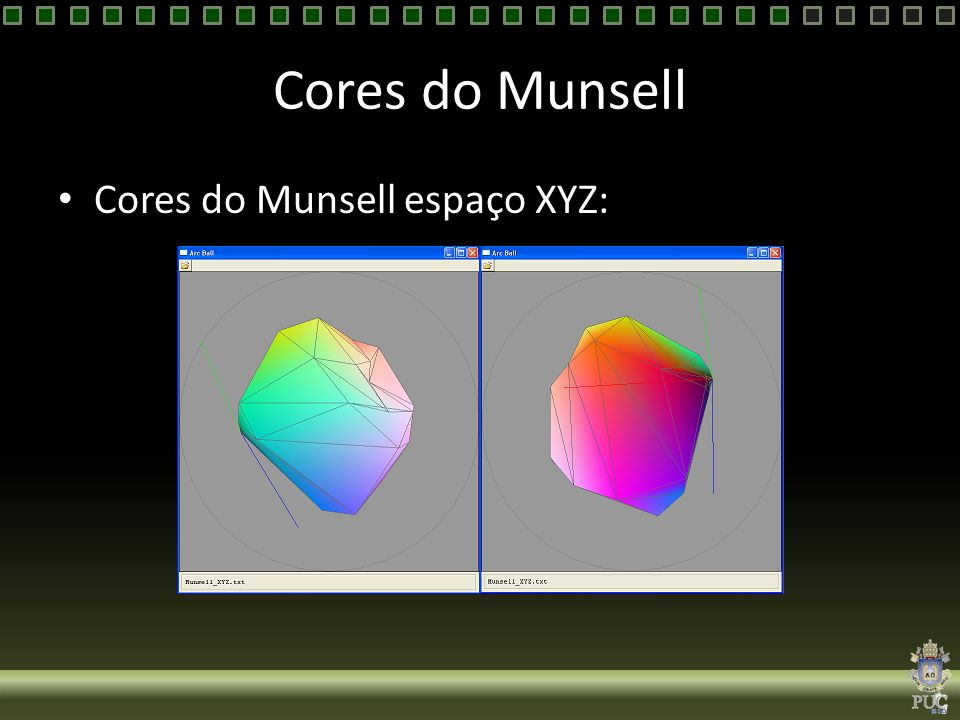 Cores do Munsell Cores do Munsell espaço XYZ: