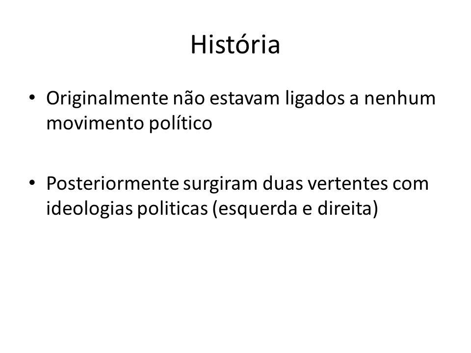 História Originalmente não estavam ligados a nenhum movimento político