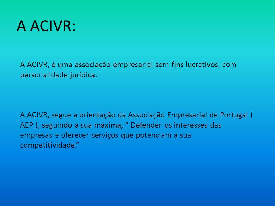 A ACIVR: A ACIVR, é uma associação empresarial sem fins lucrativos, com personalidade jurídica.