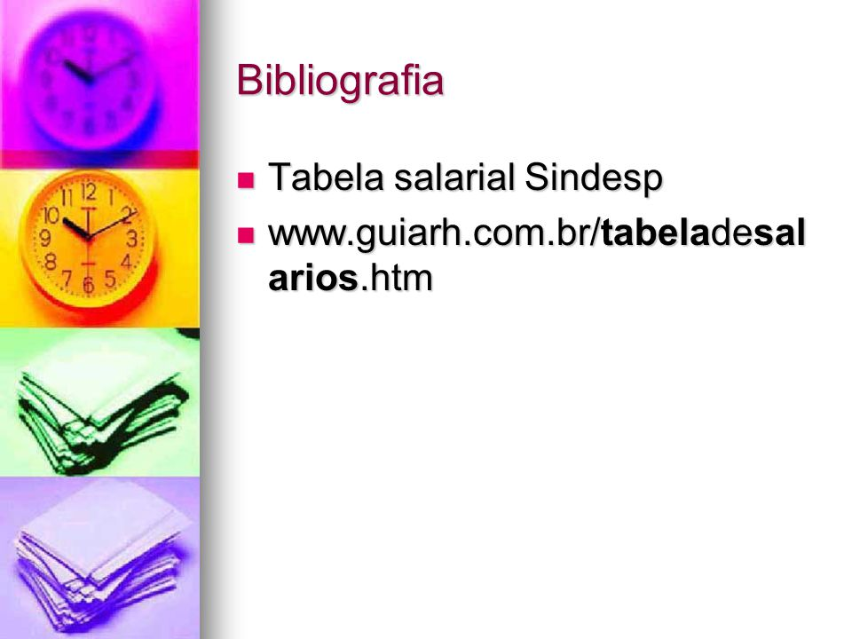 Bibliografia Tabela salarial Sindesp