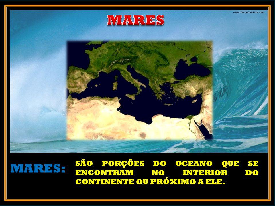 MARES SÃO PORÇÕES DO OCEANO QUE SE ENCONTRAM NO INTERIOR DO CONTINENTE OU PRÓXIMO A ELE. MARES: