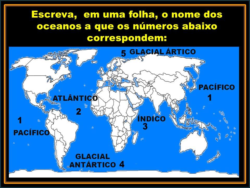 Escreva, em uma folha, o nome dos oceanos a que os números abaixo correspondem: