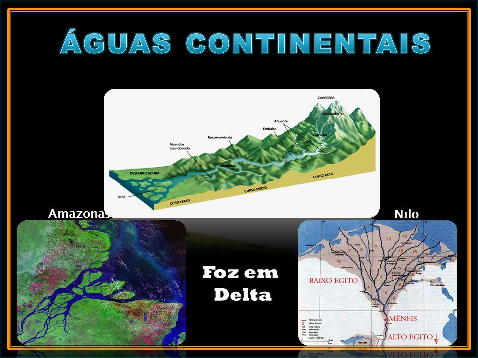 ÁGUAS CONTINENTAIS Amazonas Nilo Foz em Delta