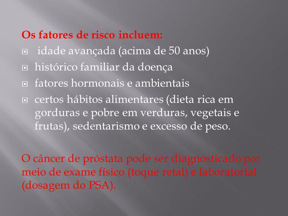Os fatores de risco incluem: