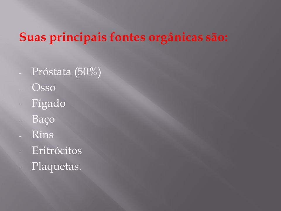 Suas principais fontes orgânicas são: