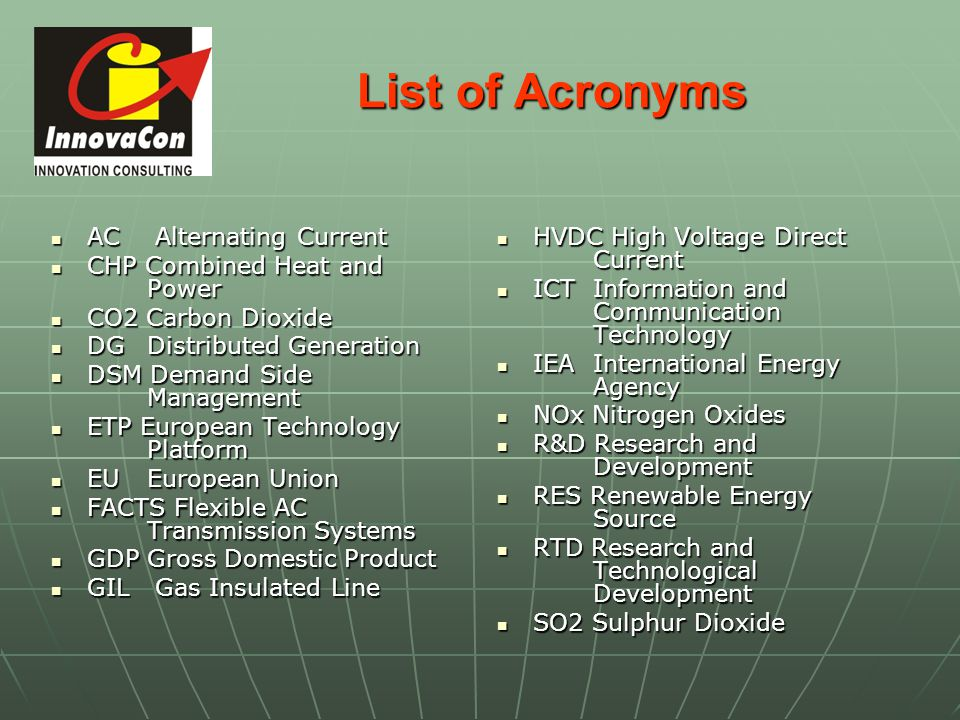 List of Acronyms AC Alternating Current CHP Combined Heat and Power
