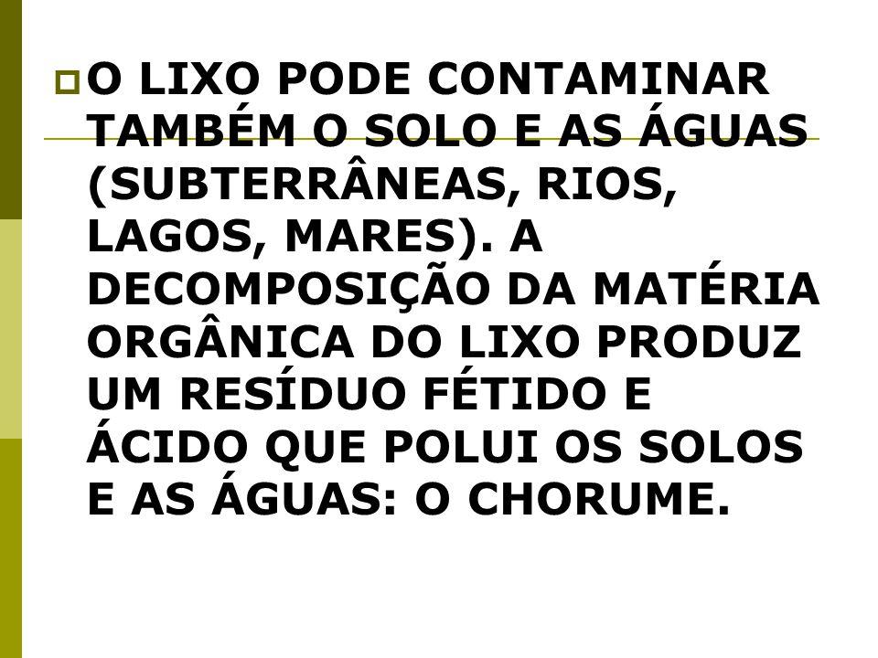 O LIXO PODE CONTAMINAR TAMBÉM O SOLO E AS ÁGUAS (SUBTERRÂNEAS, RIOS, LAGOS, MARES).