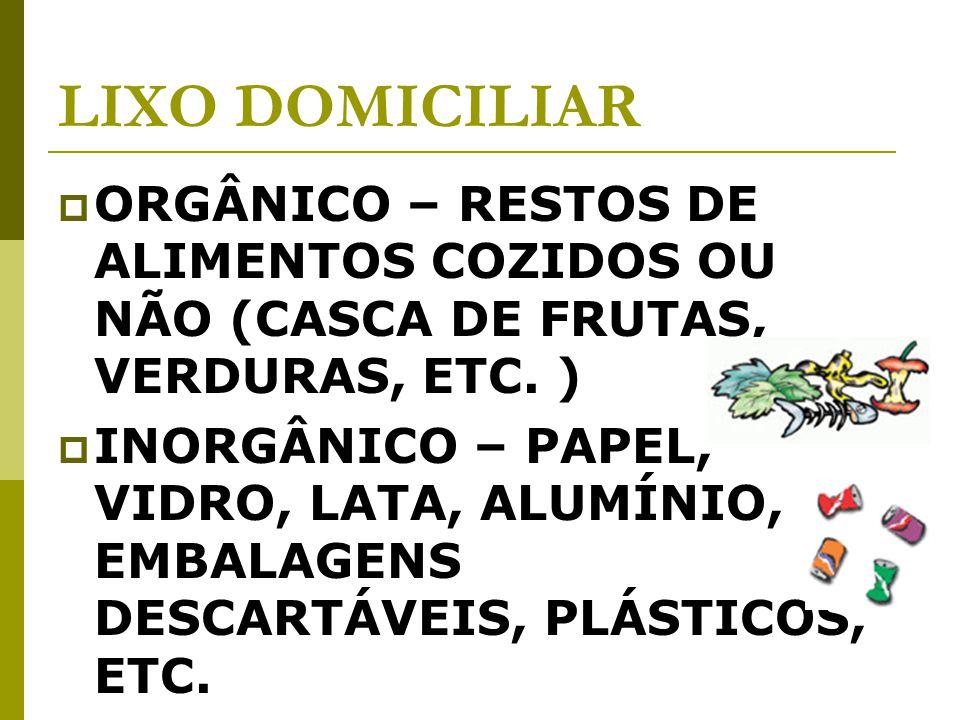 LIXO DOMICILIAR ORGÂNICO – RESTOS DE ALIMENTOS COZIDOS OU NÃO (CASCA DE FRUTAS, VERDURAS, ETC. )