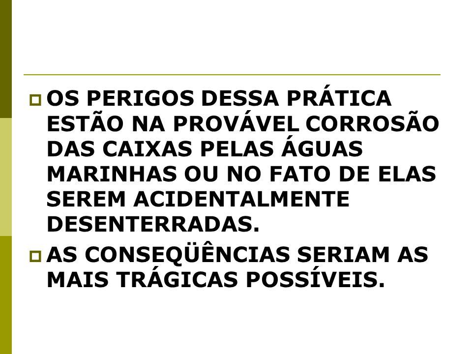 OS PERIGOS DESSA PRÁTICA ESTÃO NA PROVÁVEL CORROSÃO DAS CAIXAS PELAS ÁGUAS MARINHAS OU NO FATO DE ELAS SEREM ACIDENTALMENTE DESENTERRADAS.