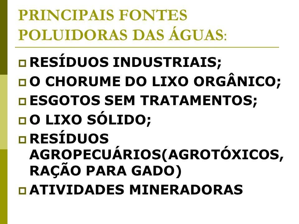 PRINCIPAIS FONTES POLUIDORAS DAS ÁGUAS:
