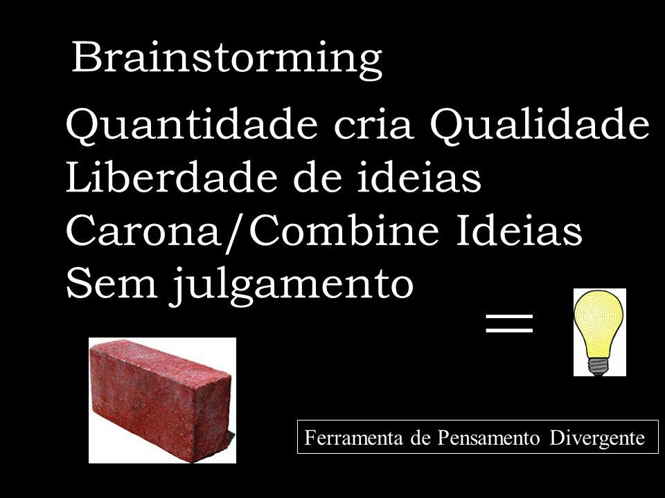 = Brainstorming Quantidade cria Qualidade Liberdade de ideias