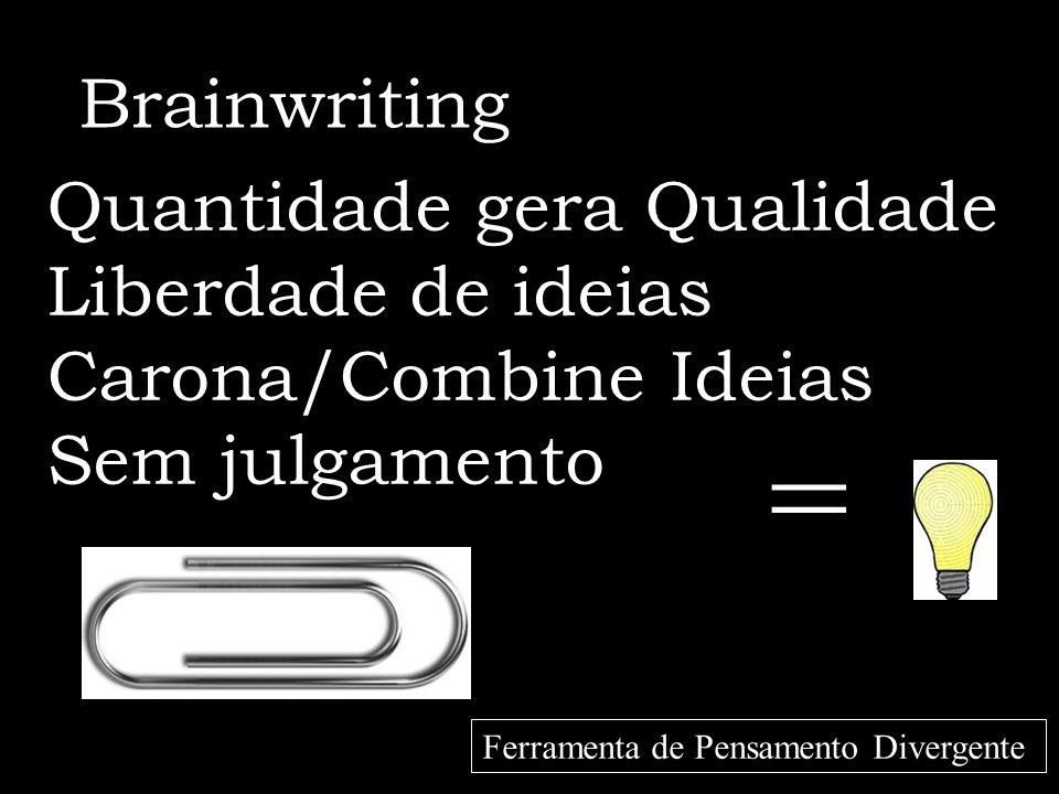 = Brainwriting Quantidade gera Qualidade Liberdade de ideias