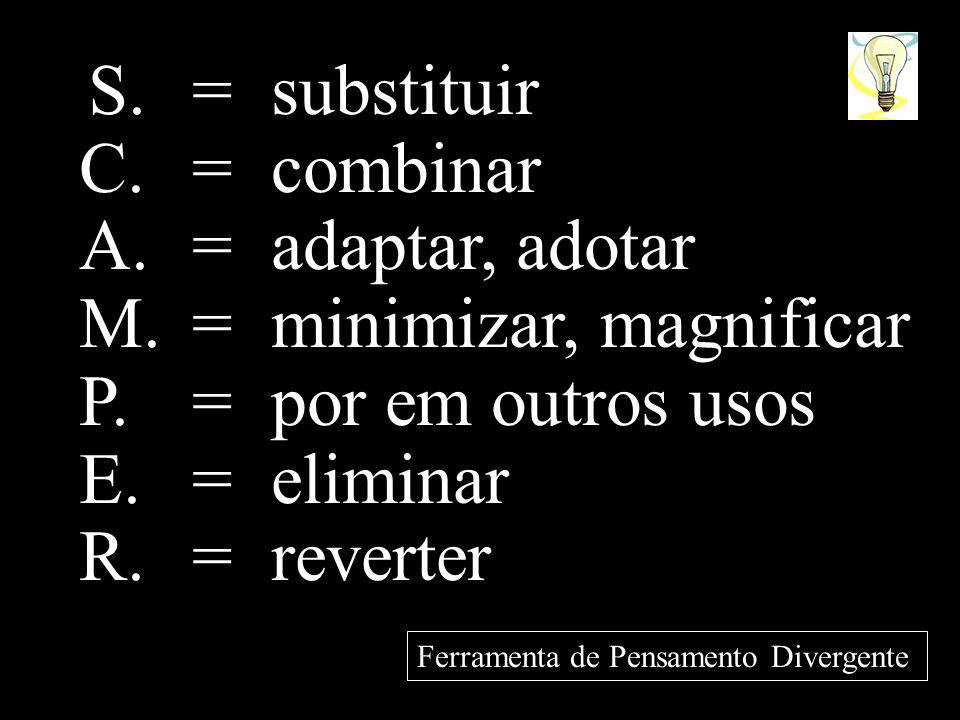 M. = minimizar, magnificar P. = por em outros usos E. = eliminar